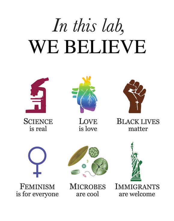 In this lab, we believe: science is real, love is love, Black lives matter, feminism is for everyone, microbes are cool, immigrants are welcome.